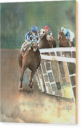 Into The Stretch And Headed For Home-secretariat Wood Print by Arline Wagner