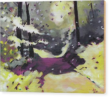 Wood Print featuring the painting Into The Woods 2 by Anil Nene
