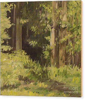 Wood Print featuring the painting Into The Woods by Laurie Rohner