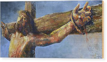 Wood Print featuring the painting Into Your Hands by Andrew King