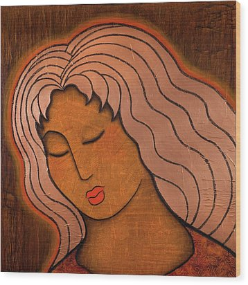 Wood Print featuring the mixed media Intuitive Listening by Gloria Rothrock