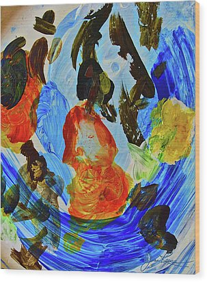 Wood Print featuring the painting Intuitive Painting  215 by Joan Reese
