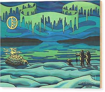 Inuit Love Arctic Landscape Painting Wood Print by Kim Hunter