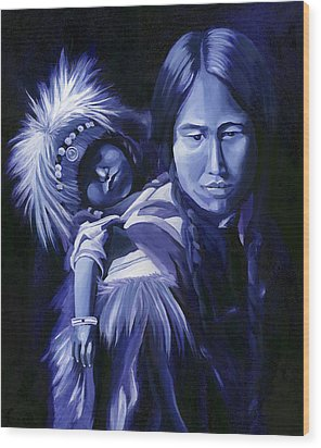 Wood Print featuring the painting Inuit Mother And Child by Nancy Griswold