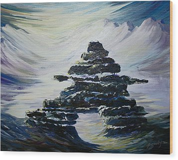 Inukshuk Wood Print by Joanne Smoley
