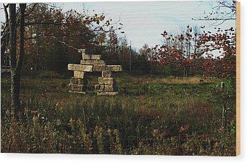 Inukshuk Lions Head Wood Print