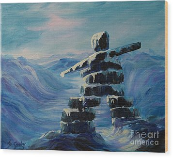 Inukshuk My Northern Compass Wood Print by Joanne Smoley