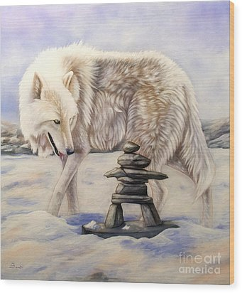 Inuksuk Wood Print by Sandi Baker