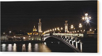 Wood Print featuring the photograph Invalides At Night 1 by Andrew Fare