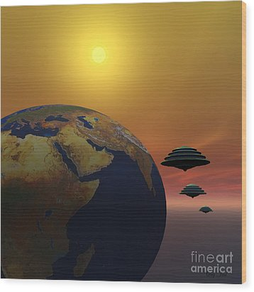 Invasion Wood Print by Corey Ford