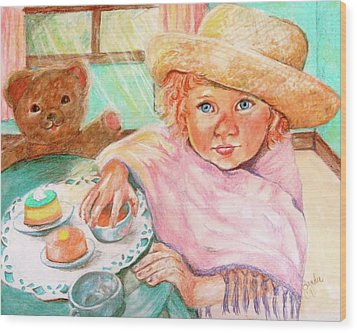 Invitation Only Tea Party Wood Print by Sandra Valentini