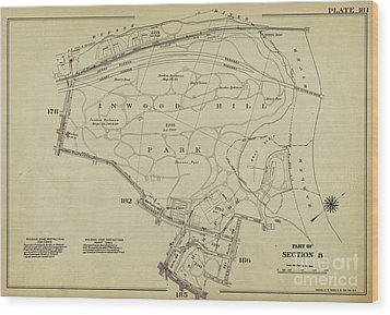 Wood Print featuring the photograph Inwood Hill Park 1950's Map by Cole Thompson