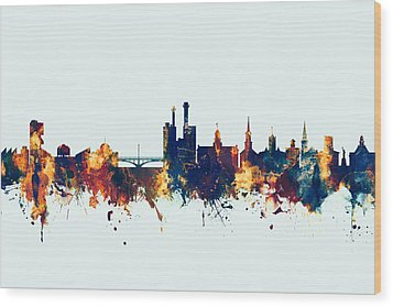 Wood Print featuring the digital art Iowa City Iowa Skyline by Michael Tompsett