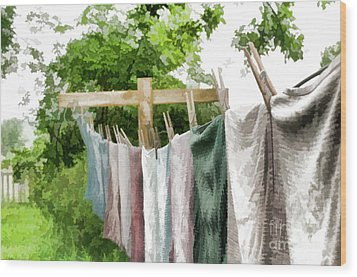 Wood Print featuring the photograph Iowa Farm Laundry Day  by Wilma Birdwell