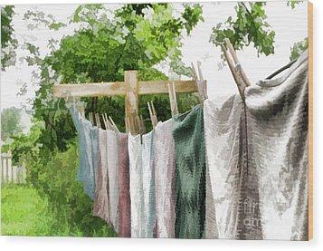 Iowa Farm Laundry Day  Wood Print by Wilma Birdwell