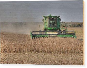 Iowa Soybean Harvest Wood Print