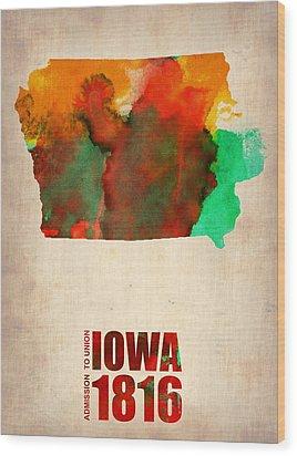 Iowa Watercolor Map Wood Print by Naxart Studio
