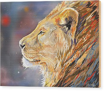 Ipad Painting - Lion Profile Wood Print by Aaron Spong