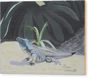 Iquana Lizard At Sarasota Jungle Wood Print