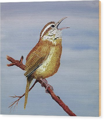 Wood Print featuring the painting Irate Wren by Thom Glace
