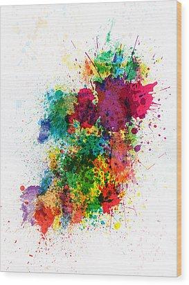 Ireland Map Paint Splashes Wood Print by Michael Tompsett