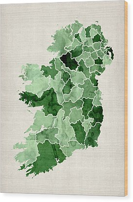 Ireland Watercolor Map Wood Print by Michael Tompsett