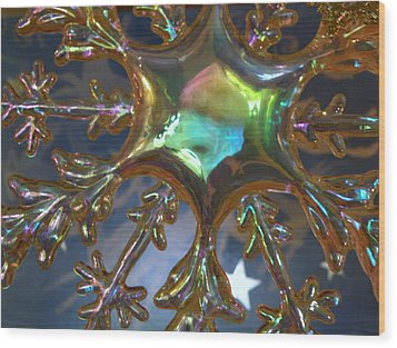 Iridescent Snowflake Wood Print by Rose  Hill