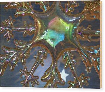 Iridescent Snowflake Wood Print