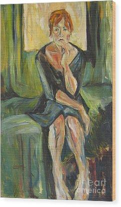 Wood Print featuring the painting Irina by Debora Cardaci