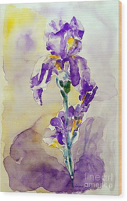 Wood Print featuring the painting Iris 2 by Jasna Dragun