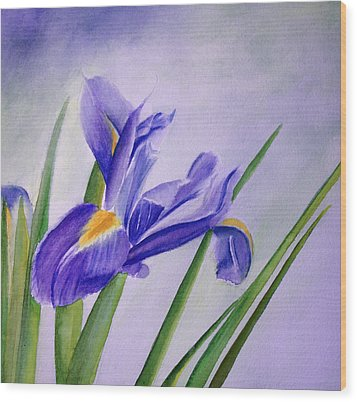 Wood Print featuring the painting Iris by Allison Ashton