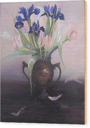 Iris And Tulips Wood Print by Marcy Silverstein