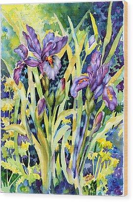 Iris Wood Print by Ann  Nicholson