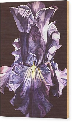 Wood Print featuring the painting Iris At Night by Alfred Ng