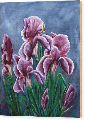Iris Awakens Wood Print by Penny Everhart