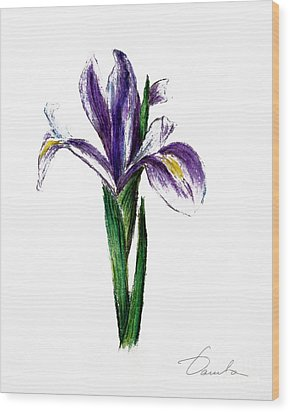 Iris Wood Print by Danuta Bennett