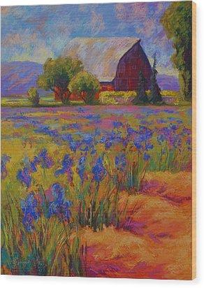 Iris Field Wood Print by Marion Rose
