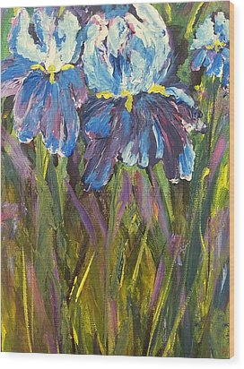 Iris Floral Garden Wood Print by Claire Bull