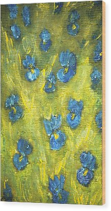 Wood Print featuring the painting Iris Flowers by Evelina Popilian
