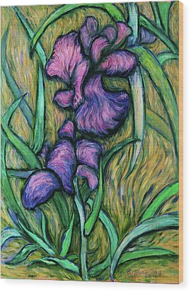 Wood Print featuring the painting Iris For Vincent - Contemporary Fauvist Post-impressionist Oil Painting Original Art On Canvas by Xueling Zou