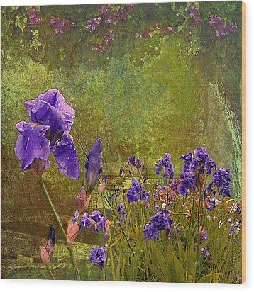 Iris Garden Wood Print by Jeff Burgess