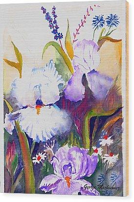 Iris Wood Print by George Markiewicz