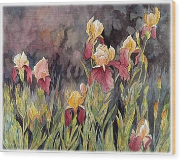 Iris In My Backyard Wood Print by Ping Yan