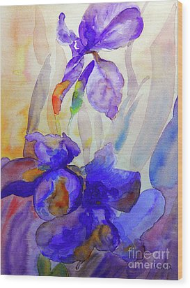 Wood Print featuring the painting Iris by Jasna Dragun