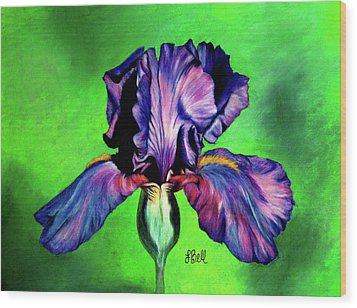 Wood Print featuring the painting Iris by Laura Bell