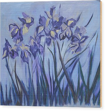 Iris Painting Two Wood Print by Betty Pieper
