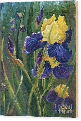 Iris Wood Print by Renate Nadi Wesley