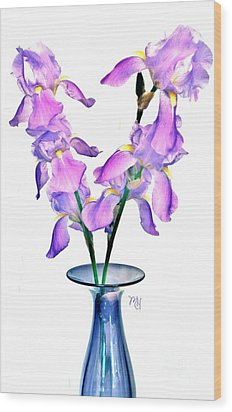 Iris Still Life In A Vase Wood Print by Marsha Heiken