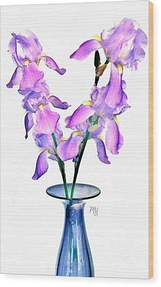 Wood Print featuring the digital art Iris Still Life In A Vase by Marsha Heiken