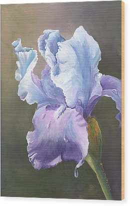 Wood Print featuring the painting Iris Tears by Sherry Shipley